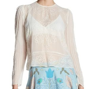 Tracy Reese sheer white 3/4 sleeve beaded blouse